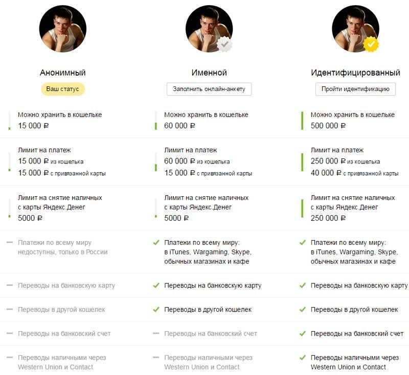 Яндекс деньги статусы кошельков